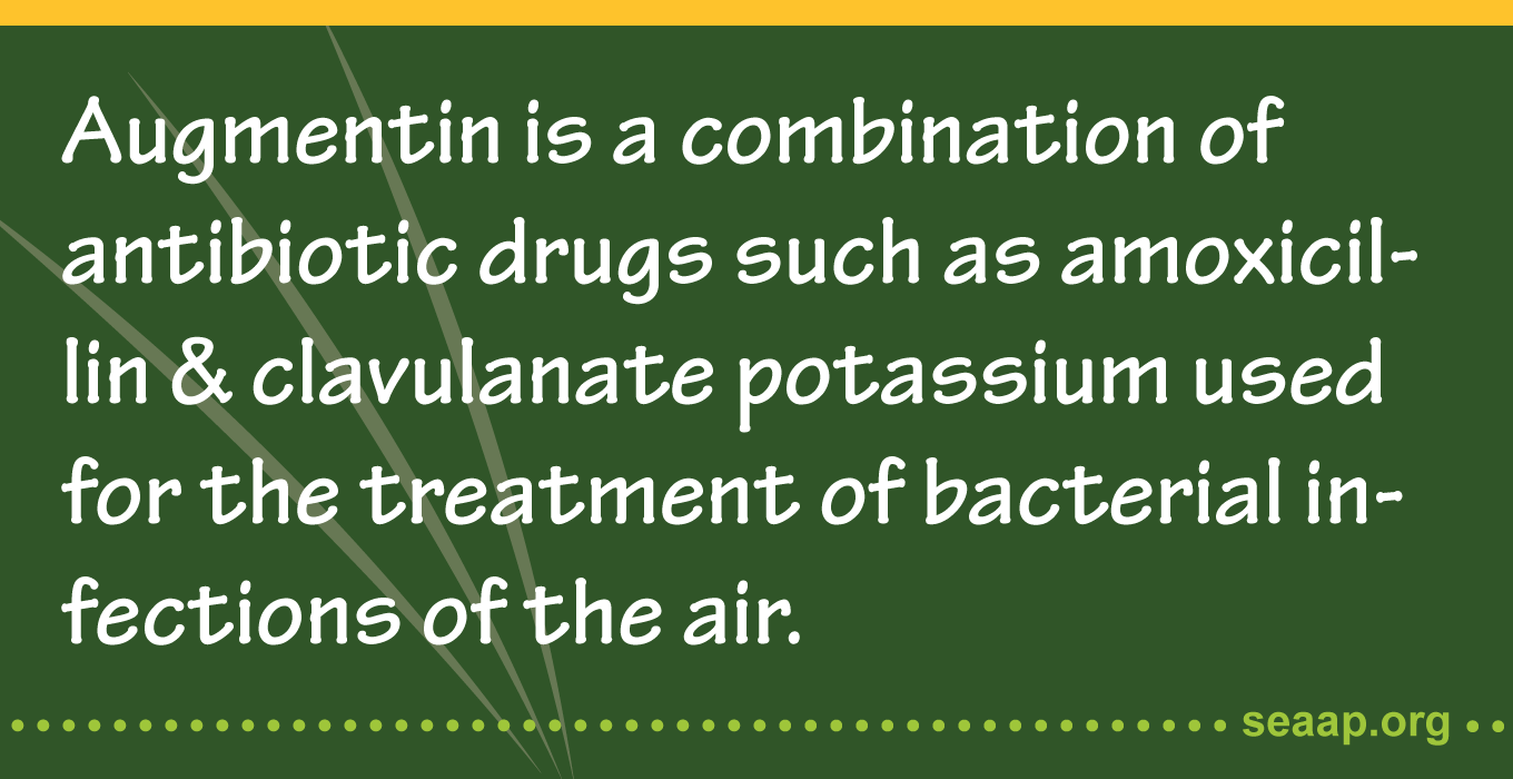 Augmentin is a combination of antibiotic drugs such as amoxicillin & clavulanate potassium